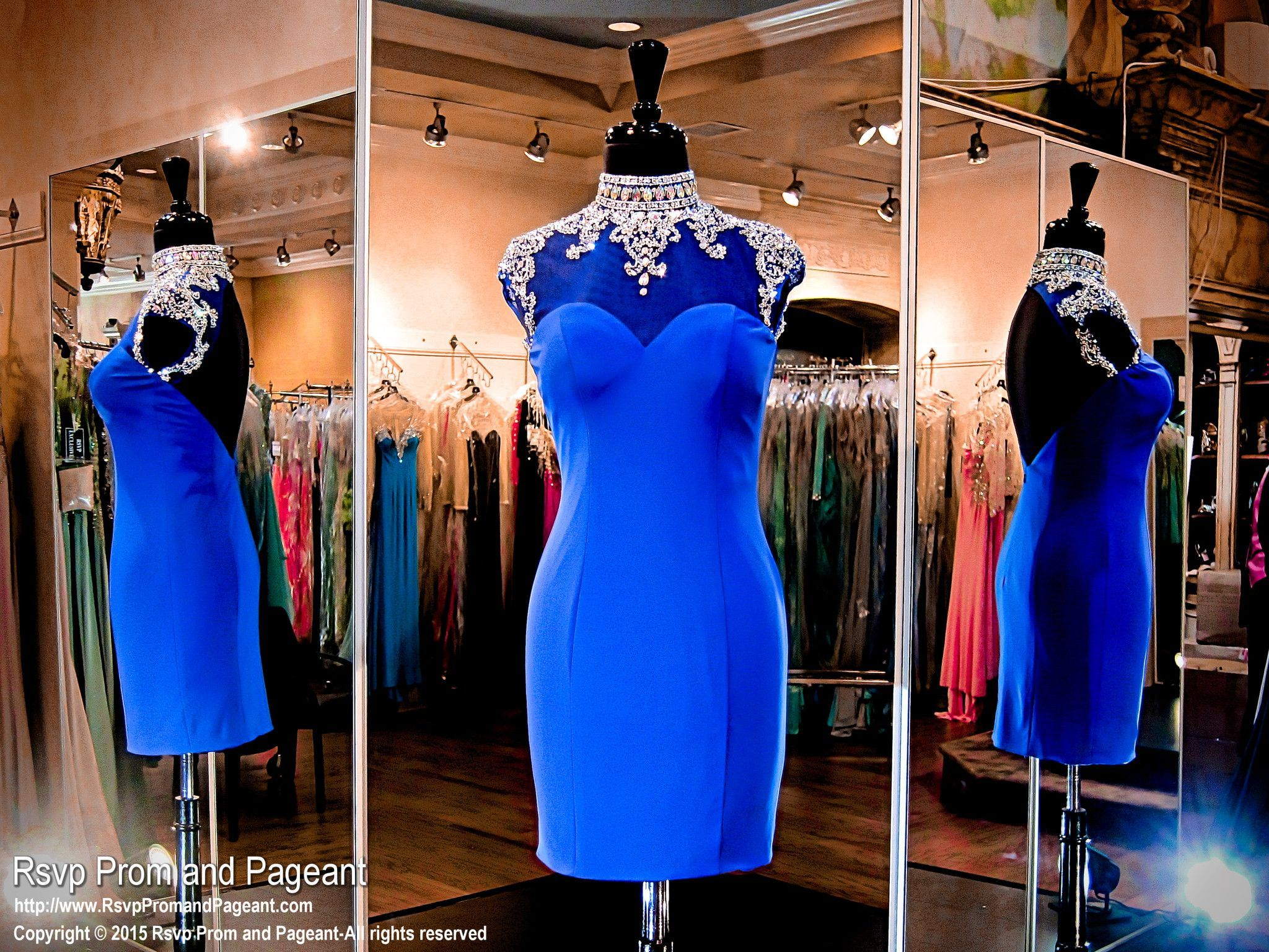 Royal blue jersey formfitting short homecoming dresshigh neckline