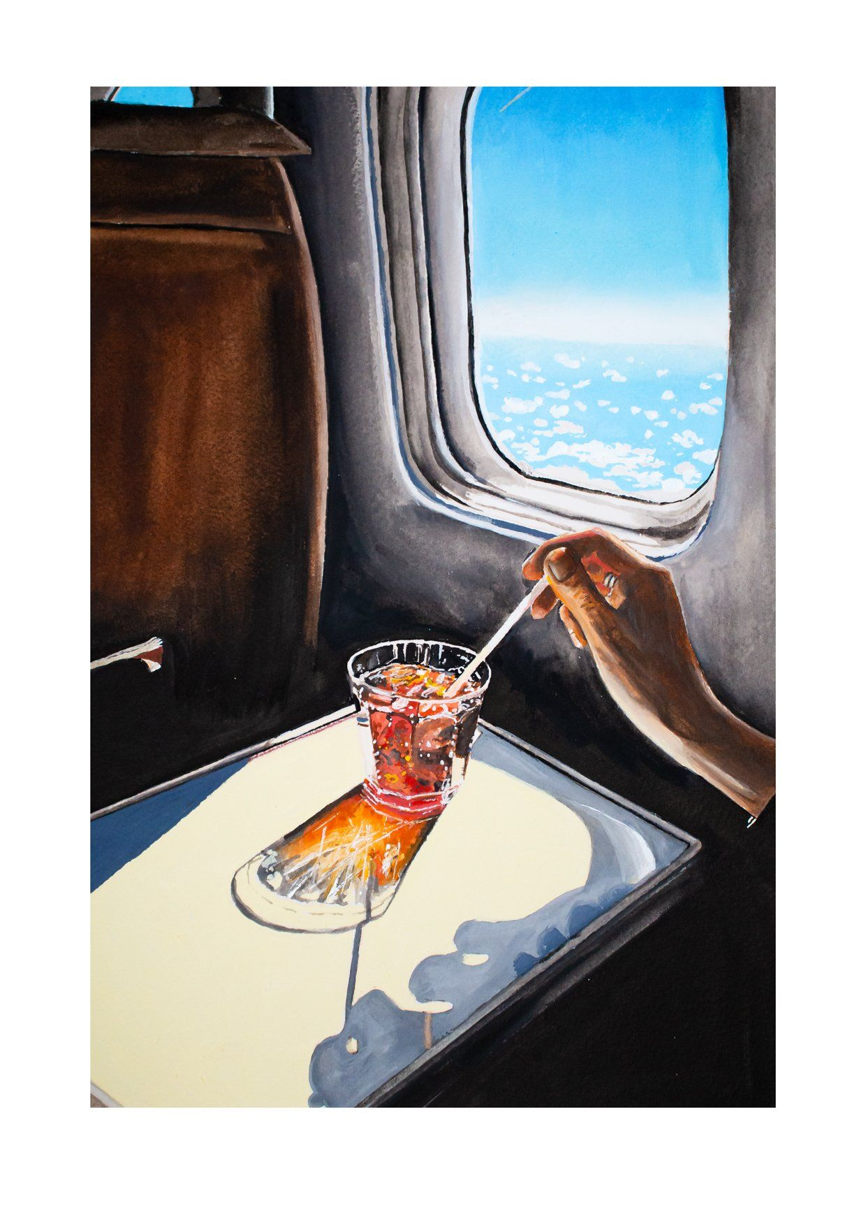 Glass In Airplane Watercolours And Acrylics 9x12 Art