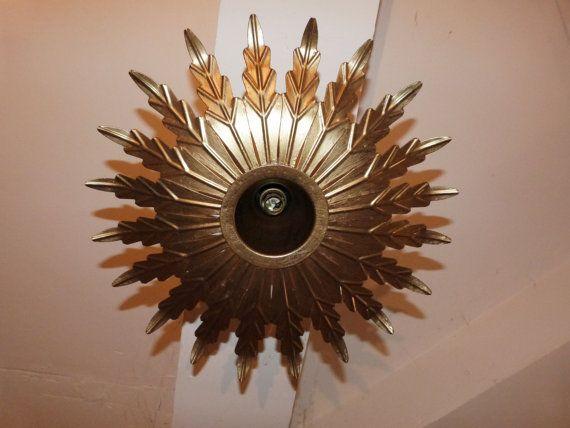 Star burst antique French tole metal lighting gilded sun burst chandelier hanging ceiling light lamp sconce, chic design from France