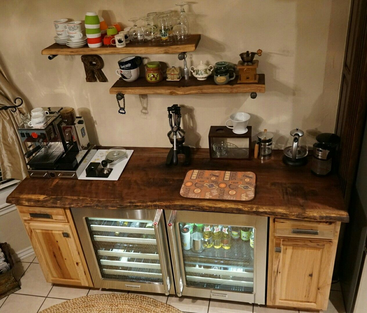 Nearly Finished Coffee Bar. Kitchen Aid Wine Fridge And Beverage Center,  Dark Walnut Top