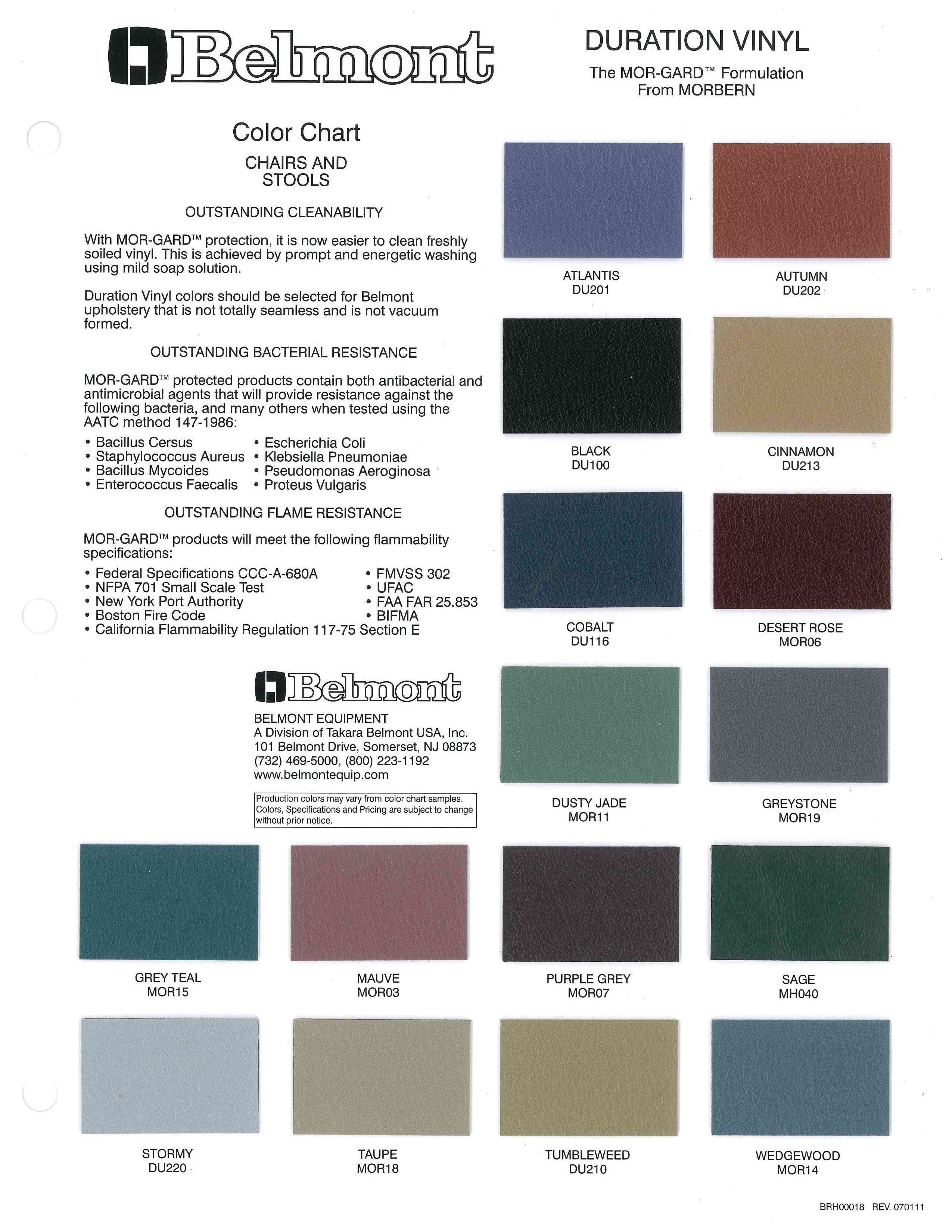 Color Chart  Duration Vinyl For Chairs And Stools  Belmont