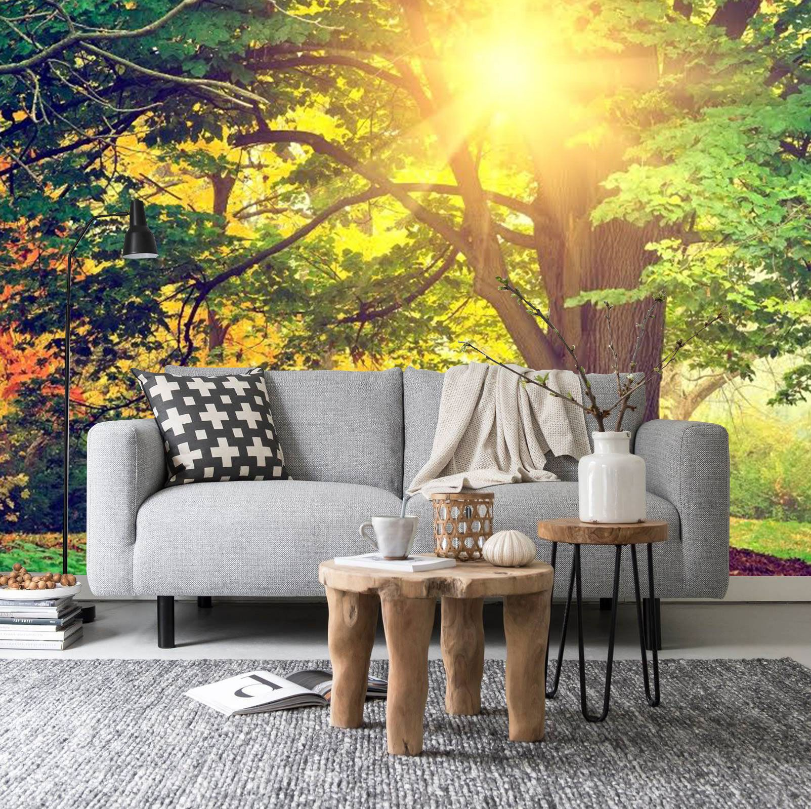 Sunbeam Through the Trees Wall Mural, Bright Forest