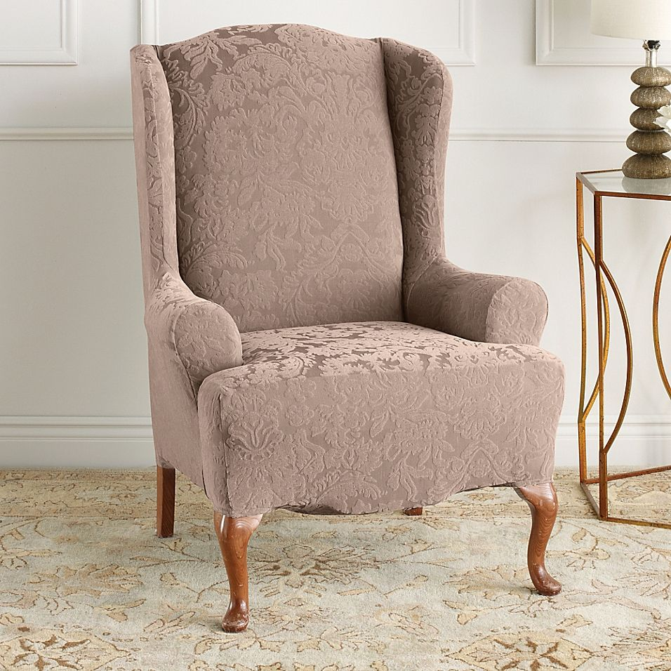 Sure Fit Stretch Jacquard Damask Wingback Chair Slipcover Bed Bath Beyond Slipcovers For Chairs Wingback Chair Slipcovers Chair Covers Slipcover