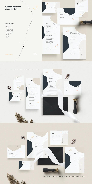Modern Abstract Wedding Set Template Wedding Invitation Card Template Wedding Sets Wedding Invitation Cards