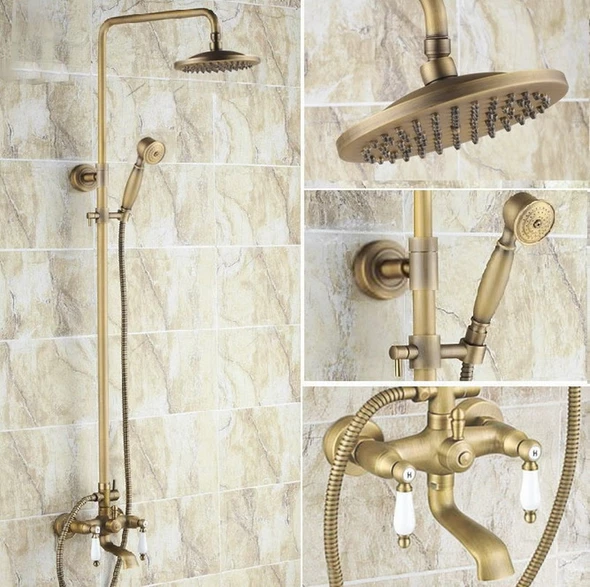 Photo of Antique Brass Wall Mount Rain Shower Faucet Set Bathroom