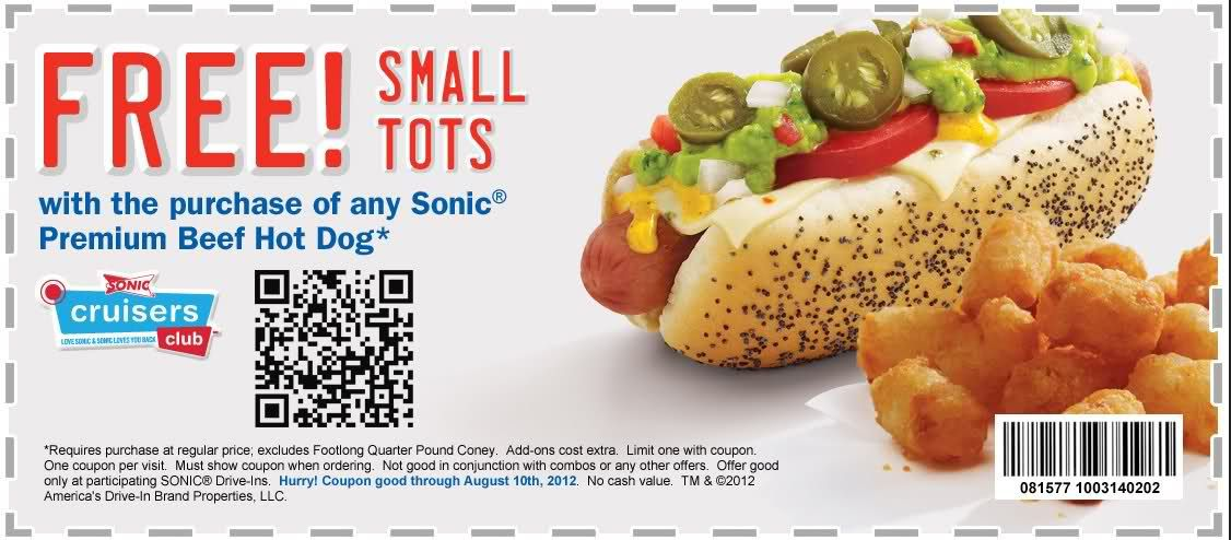 graphic relating to Sonic Printable Coupon identify Pin upon purposes
