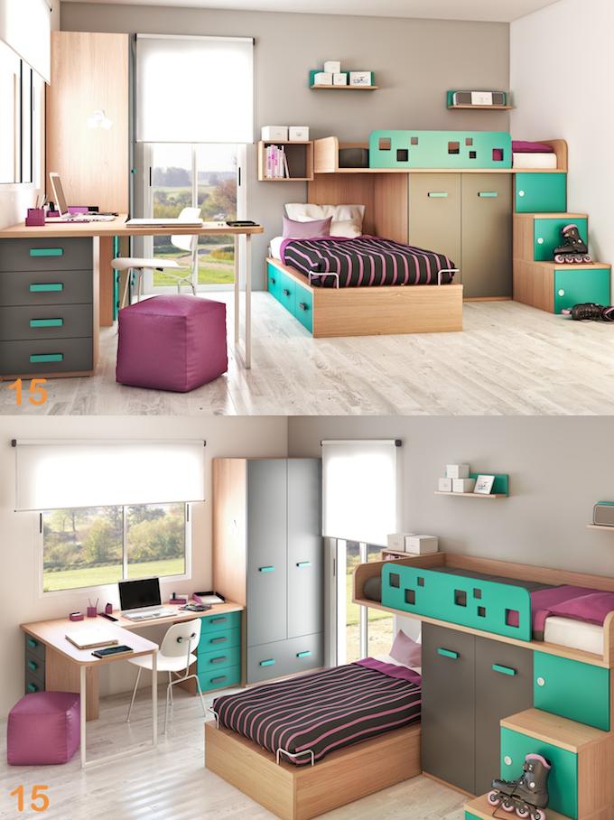 Cuarto dormitorio juveniles escritorio silla camas for Ejemplo de dormitorio deco