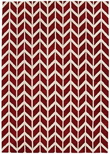 Teppich modernes Design ARLO CHEVRON RUG RED 200 cm x 300 cm   - Teppich Wohnzimmer Braun