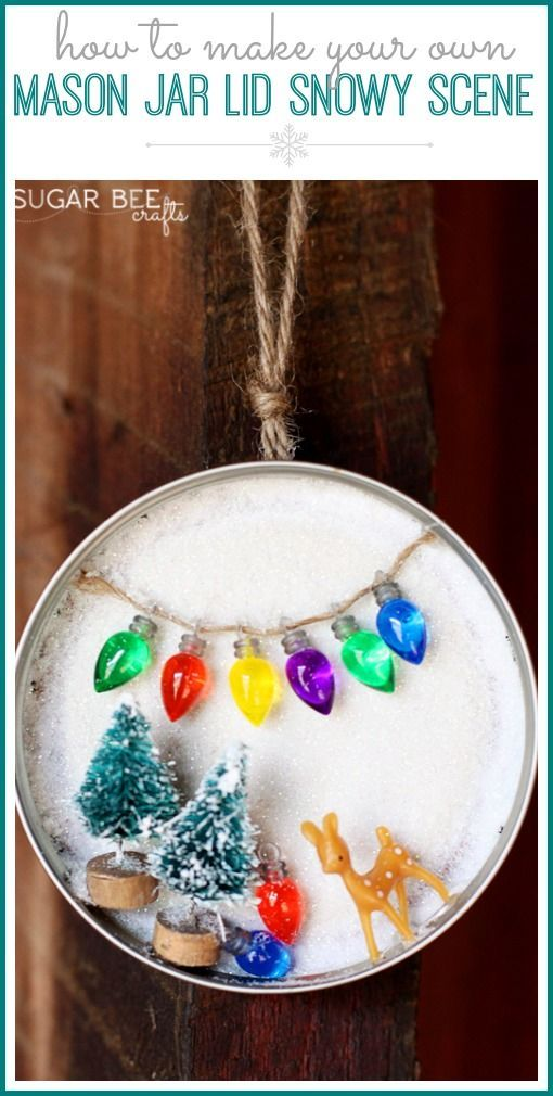 Mason Jar Lid Snowy Scene, decor or ornament Bee crafts, Jar and Bees