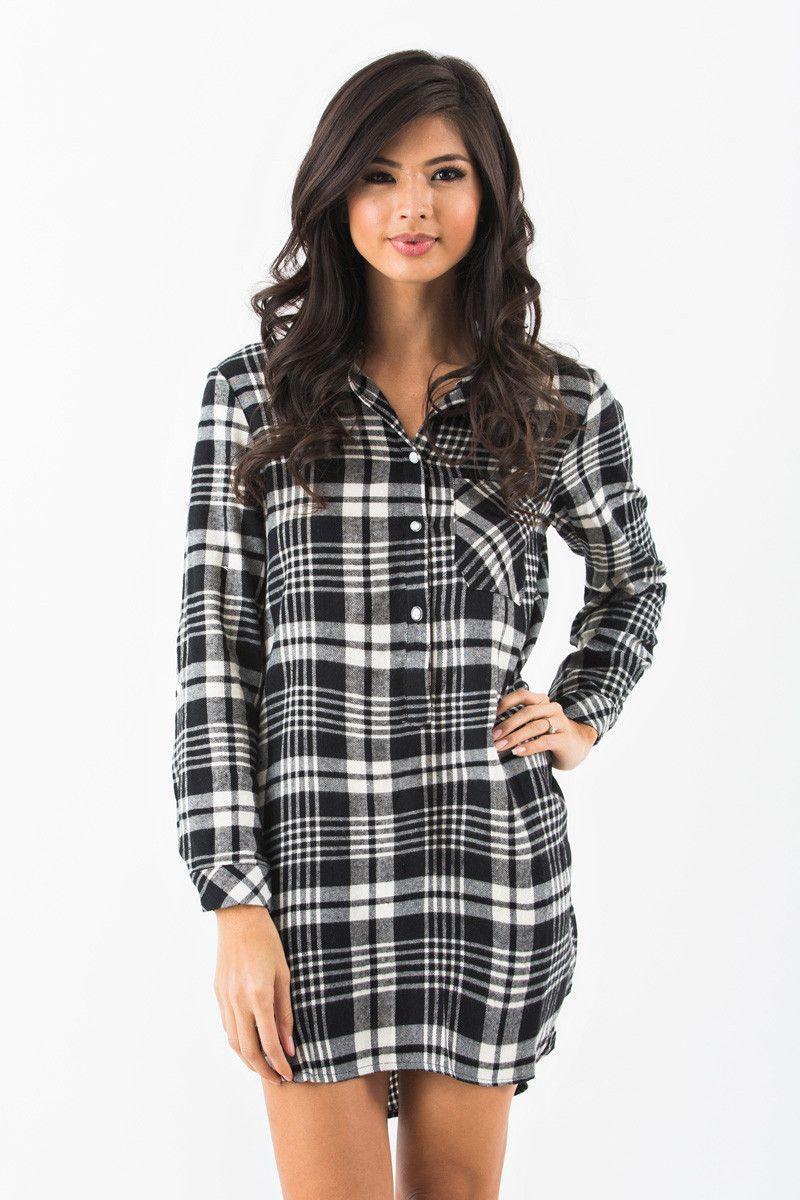Anna Black Plaid Flannel Shirt Dress Flannel Shirt Dress Casual Dresses Cute Dresses [ 1200 x 800 Pixel ]
