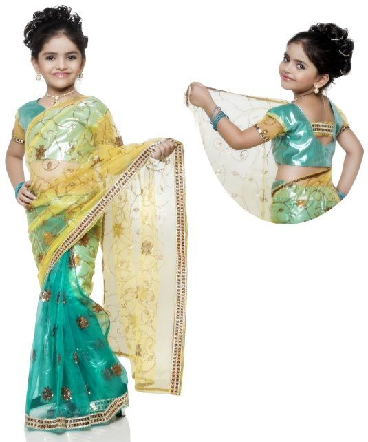 US$ 103.93: Light Seagreen Net Kids Saree with Blouse | Get It Here: http://www.sareegalaxy.com/pages/itemlarge.aspx?itemcode=CKIB09