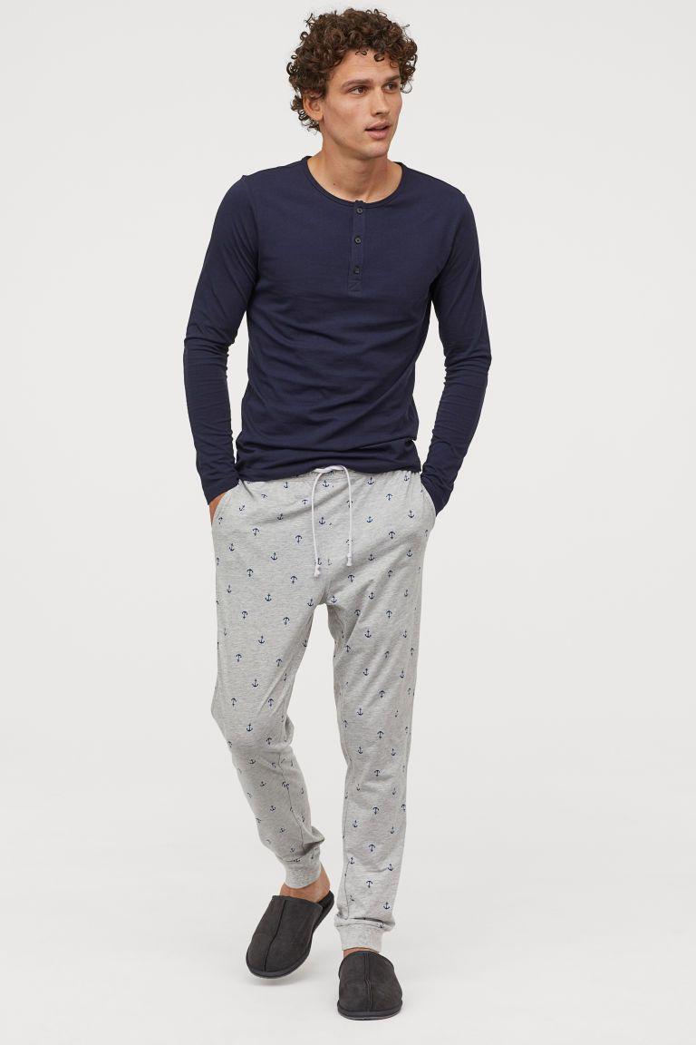 Pantalon De Pijama Gris Claro Jaspeado Anclas Hombre H M Es Pantalones De Pijama Chaqueta De Moda Para Hombre Ropa De Hombre