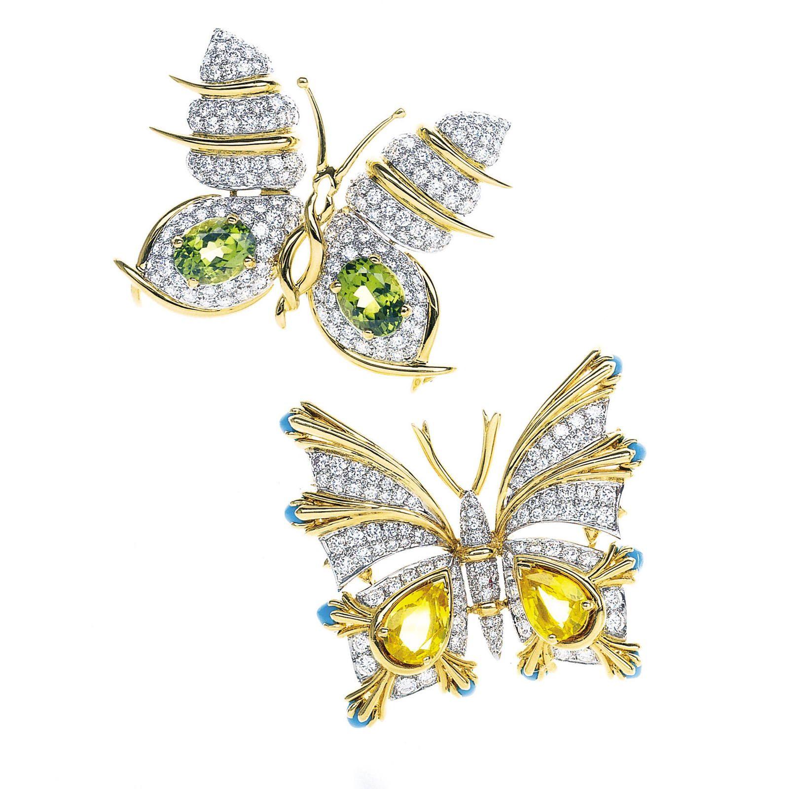 Esma Platinum: Yellow Gold And Platinum Brooches With Diamonds. Designed