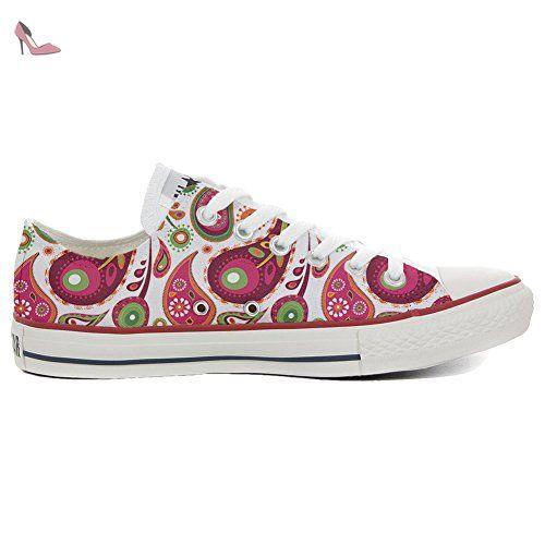 Make Your Shoes Converse Customized Adulte - chaussures coutume (produit artisanal) White Green Paisley 2 size 37 EU PdbbzKFZ