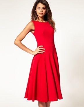 Midi Fit & Flare Dress with Basqued Waist