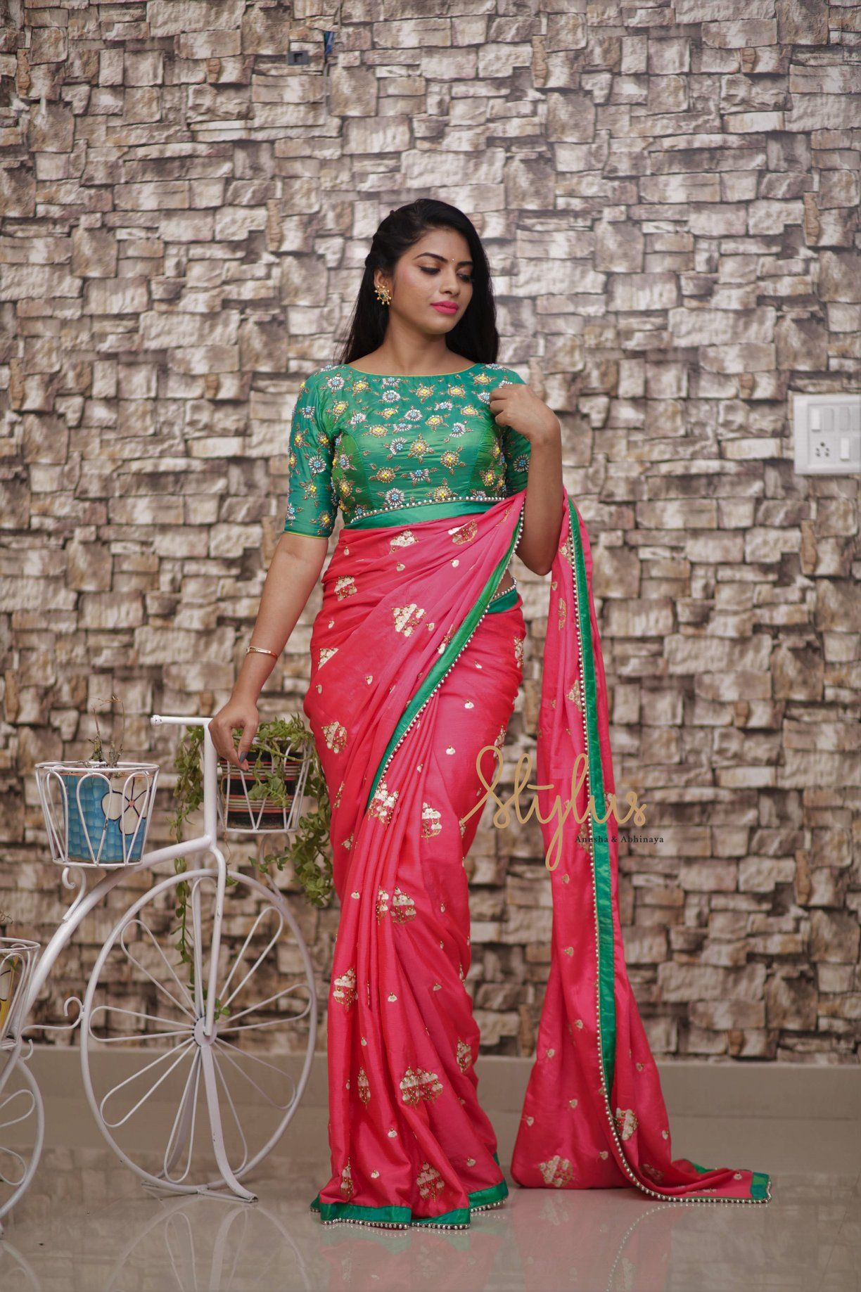 3197d94dd4f543 Stunning pink color saree and green color boat neck blouse. Saree and  blouse with hand