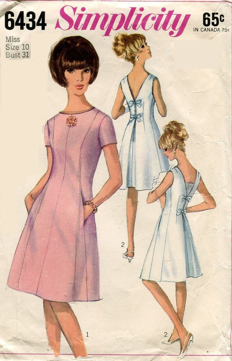 1960s Simplicity 6434 Misses Dress Low V Back with Bows Vintage ...