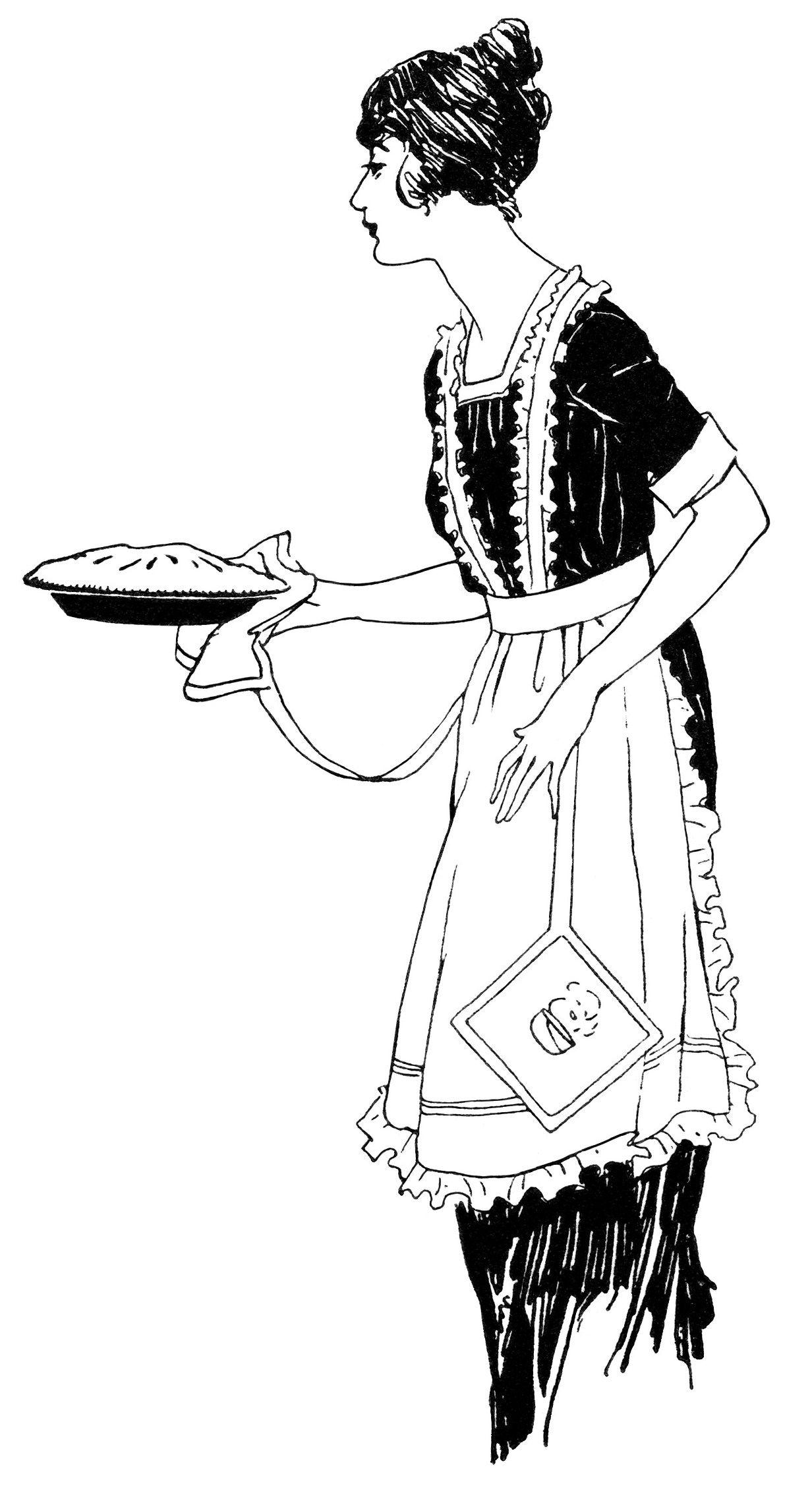 Woman Serving Pie Free Vintage Clip Art Old Design Shop Blog Clip Art Vintage Clip Art Free Clip Art