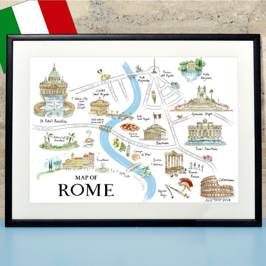 Alice Tait 'Map of Rome' print Size: A3 (297 mm x 420 mm) An individually signed lithographic print Alice Tait's 'Map of Rome'...