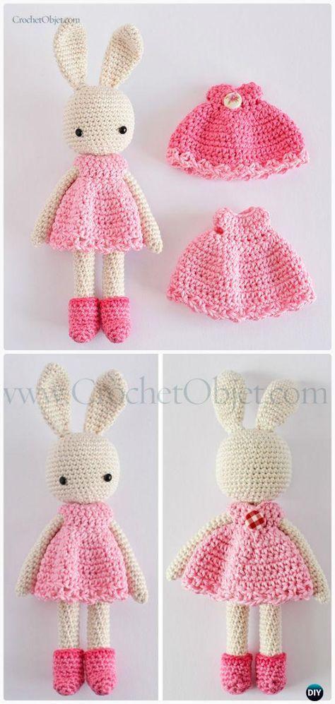 Crochet Amigurumi Pink Bunny Dress Free Patterns #Crochet | Crochet ...
