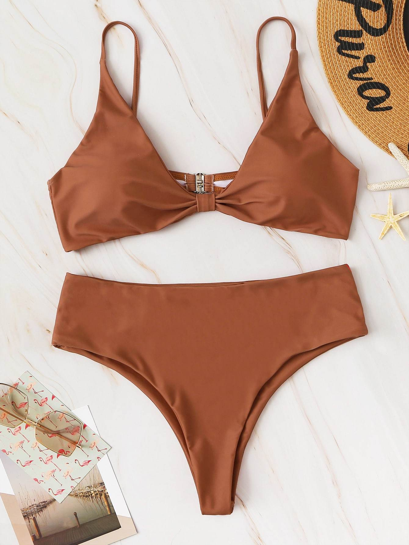 Plus Size Knot Front Top With High Waist Bikini 3