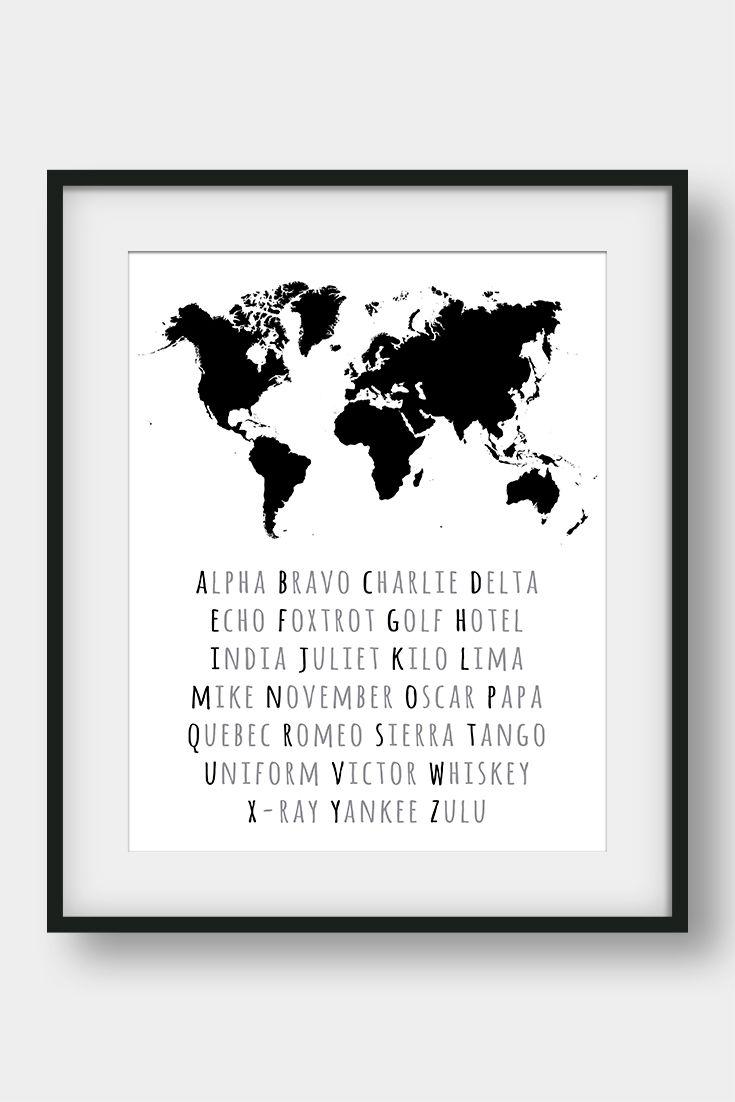 Phonetic alphabet world map print nato phonetic alphabet print phonetic alphabet world map print nato phonetic alphabet print world map poster aviation alphabet poster pilot printable gift pinterest gumiabroncs Choice Image