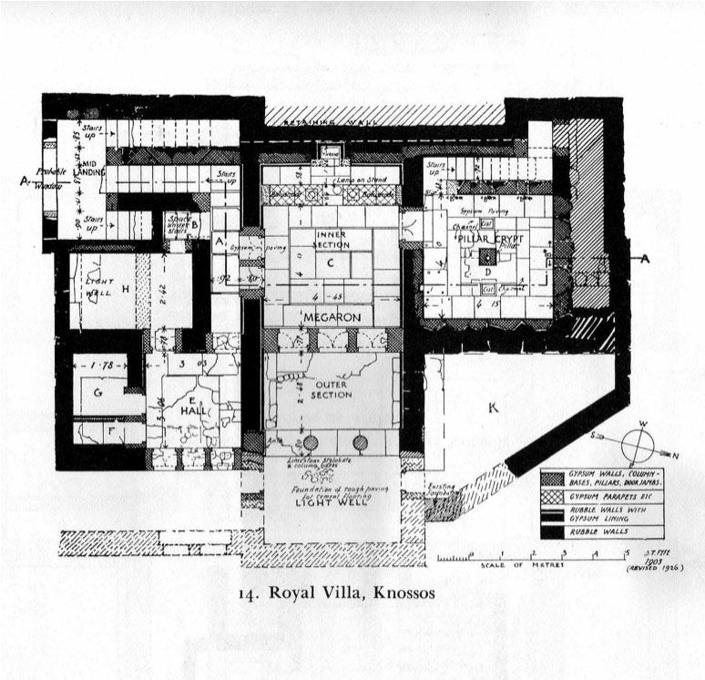 Ground Floor Plan From The Royal Villa At Knossos Crete With The Classic Minoan Tripartite Hall Minoan Ancient Architecture Crete