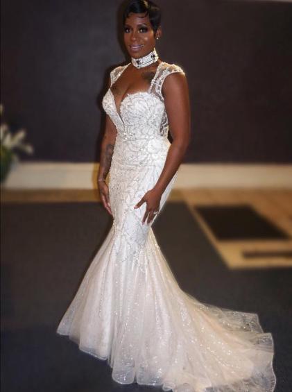 Fantasia Husband Renew Wedding Vows Photos Wedding Dresses Celebrity Wedding Dresses Short Bridal Dress