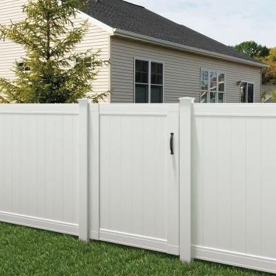 Veranda Pro Series 6 Ft X 4 Ft Woodbridge Vinyl Privacy Fence Gate 118677 At The Home Depot Vinyl Fence Fire Pit Backyard Fence Design