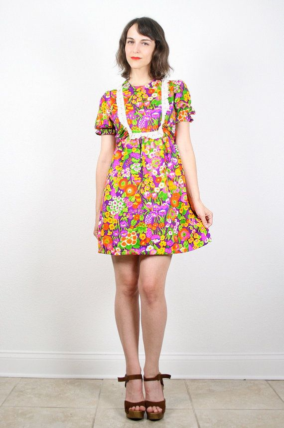 fcbfcb82e2a Vintage Hippie Mini Dress Bright Psychedelic Floral Print Eyelet Lace Bib  Dolly Hippie Dress Sundress Empire Waist Lolita Micro Mini S Small.