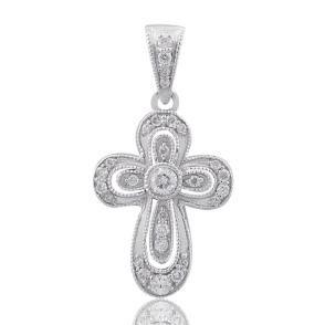 #Malakan #Jewelry - Platinum-Silver Diamond Cross Pendant 79388A #Cross #Crosses #Religion