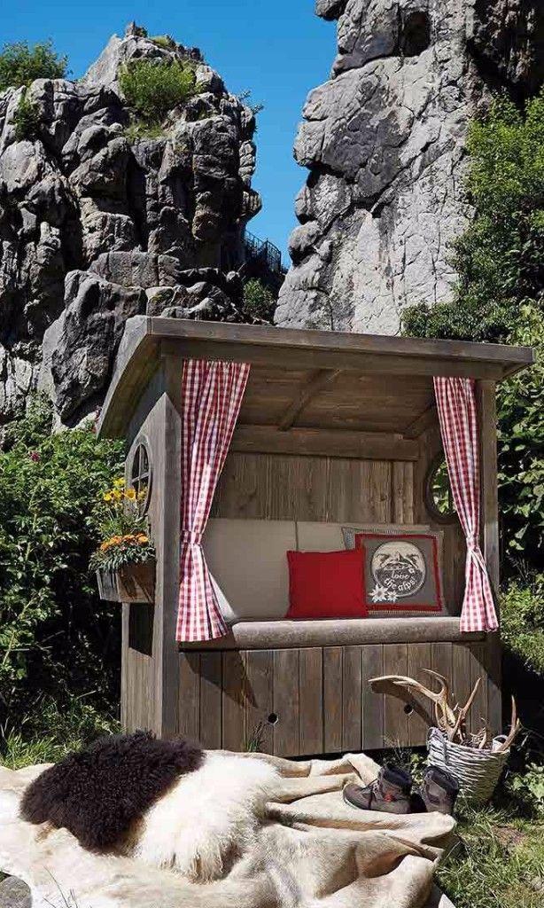 Strandkörbe Mit Blumenkästen   Alpenstimmung Für Den Eigenen Garten    Gartenmöbel Im Hüttenstil In Altholzgrau