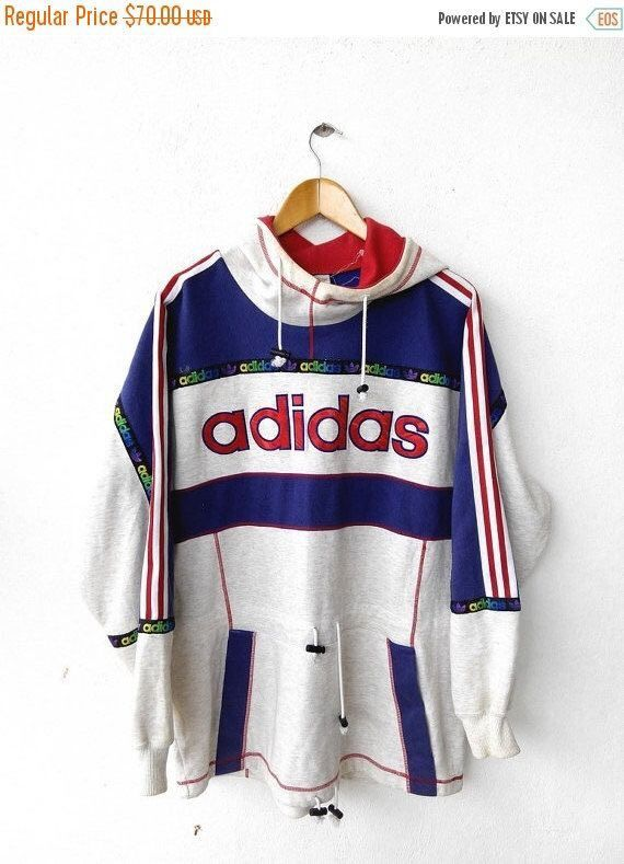 Adidas Logo White, Red, Blue Pullover Sweatshirt | Outfit ideer