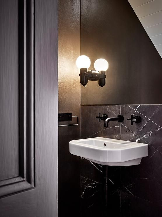 Small Black Powder Room With Sloped Ceiling Modern Bathroom Black Powder Room Powder Room Powder Room Small