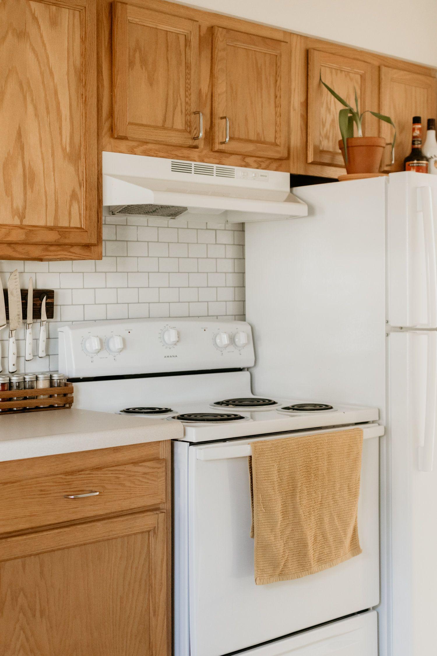 Apartment Tour! | Apartment tour, Kitchen, Oak cabinets