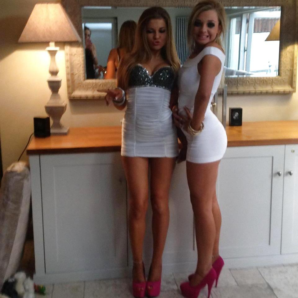 Teen girls in tight dresses