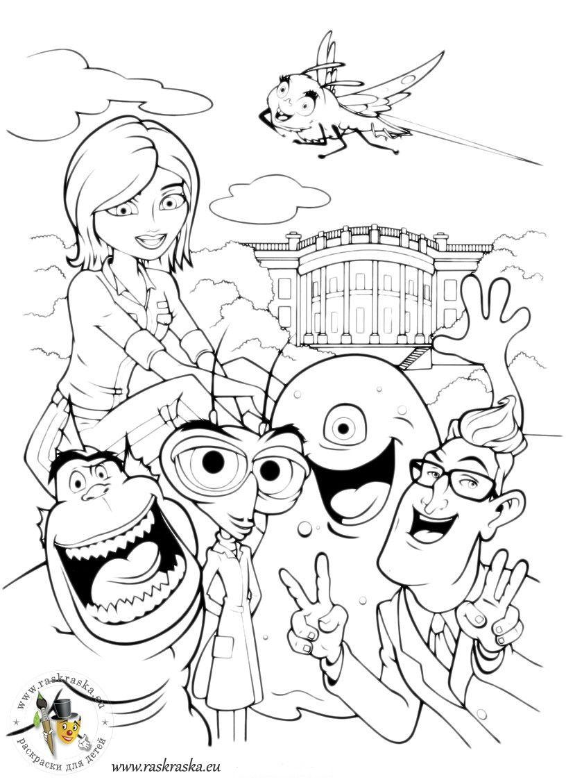 Monsters Vs Aliens Coloring Pages To Print Sr Ideas 2018 Kaos Ocean Seven Doraemon 15