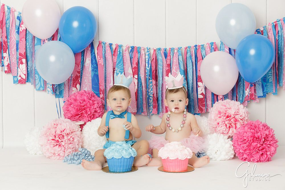 Twins 1st Birthday Cake Smash Orange County baby photographer