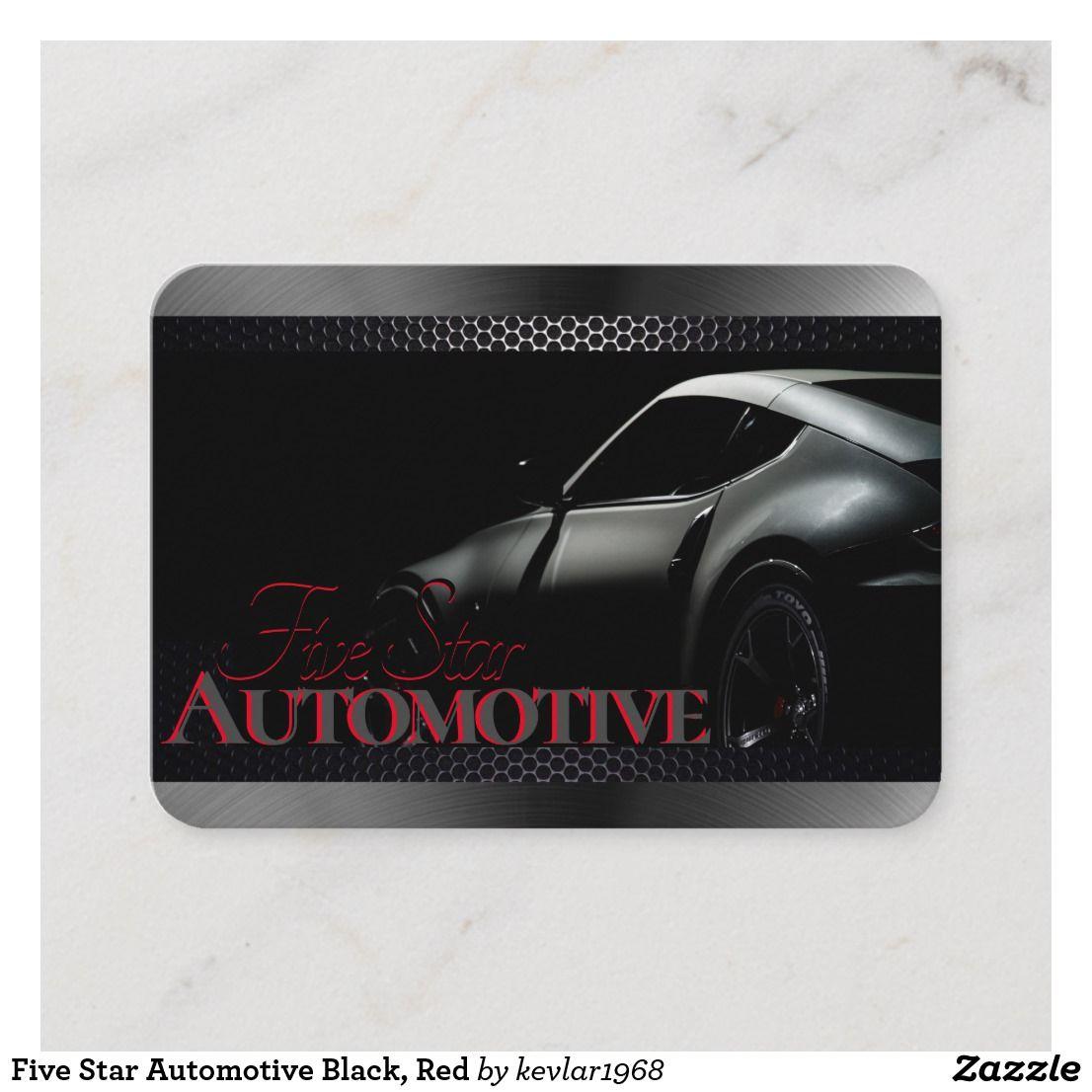 Five Star Automotive >> Five Star Automotive Black Red Business Card Zazzle Com