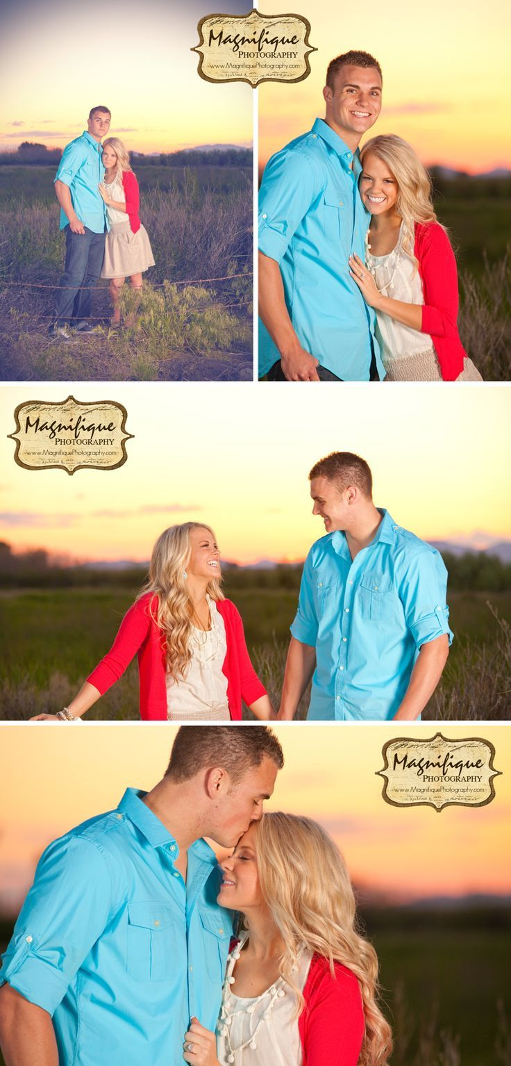 Engagement pictures with beautiful backdrop and colorful clothing #countrythang #countrycouple #engagementphoto #country