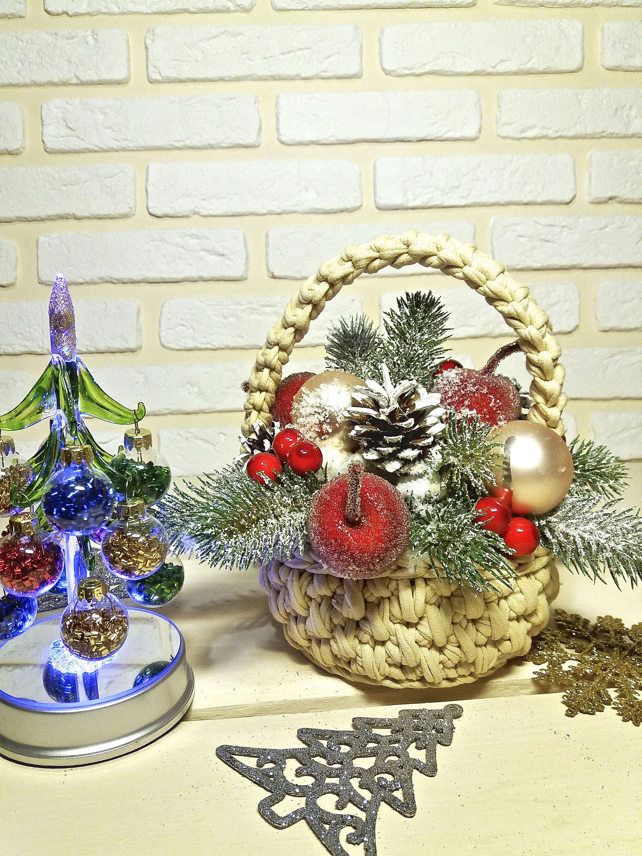 Crochet Christmas Basket With Handle On Wire Frame Etsy