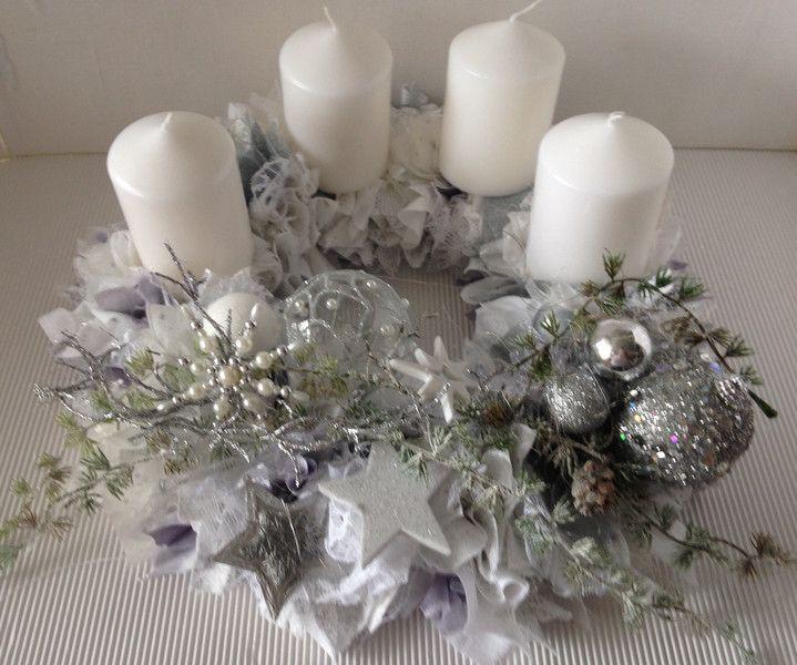 adventskranz shabby weiss silber von einfachsch n auf weihnachten pinterest. Black Bedroom Furniture Sets. Home Design Ideas