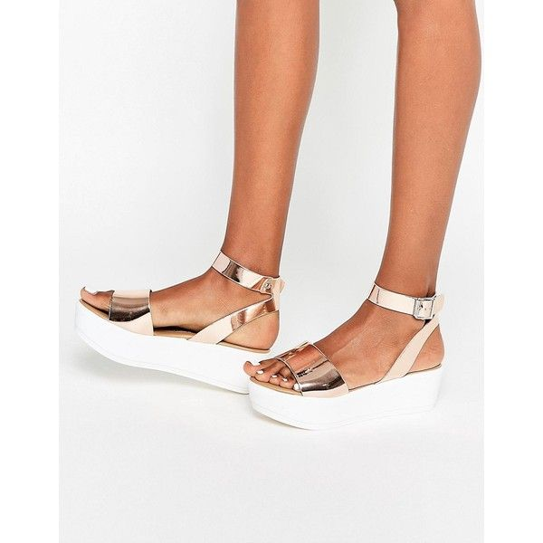 4ba02f285a ASOS TALIA Wedge Sandals ($35) ❤ liked on Polyvore featuring shoes, sandals,  rosegold, wedge heel shoes, asos, wedge heel sandals, shiny shoes and asos  ...