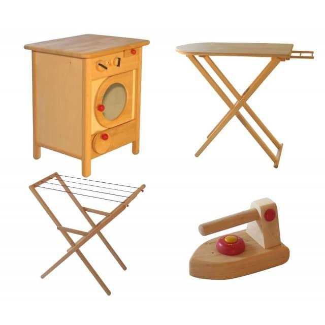 932-2300-00 Komplettangebot Drewart Waschmaschine, Wäscheständer, Bügelbrett u. Bügeleisen - erst-holz