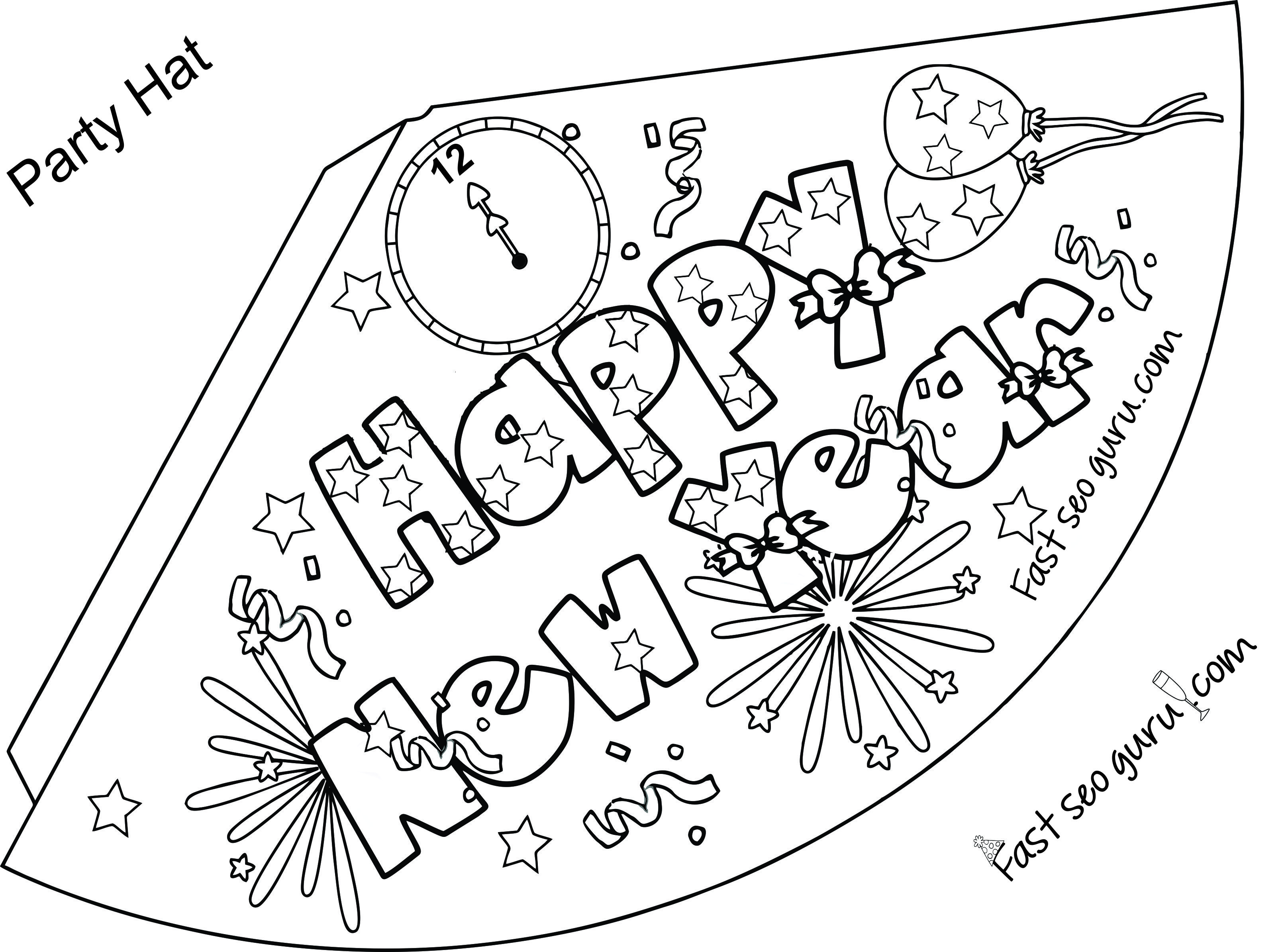 Print Out Happy New Year Party Hat Coloring For Kids New Year