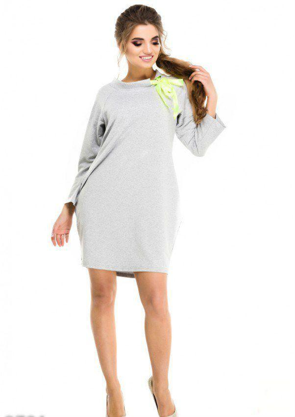 Hemdblusenkleider - Grau Jersey Kleid Tunika mit Bogen ...