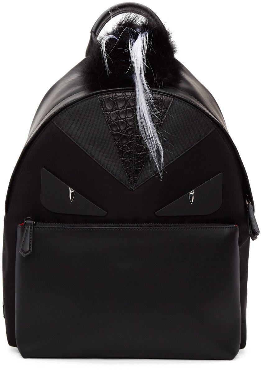 63c509ddcfb0 FENDI Black Snakeskin  Bag Bugs  Backpack.  fendi  bags  backpack ...