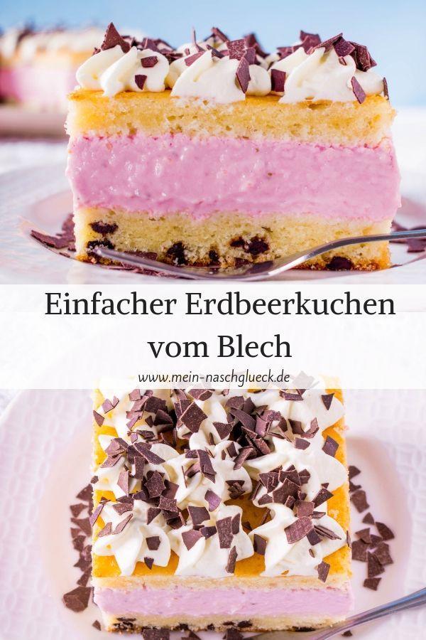 Erdbeer Straciatella Schnitten In 2020 Blechkuchen Kuchen Kuchen Und Torten Rezepte