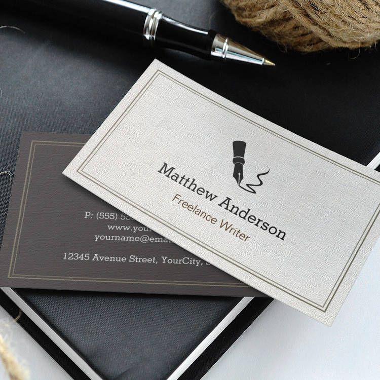 Professional writer editor author beige linen business card card professional writer editor author beige linen business card templates reheart Image collections