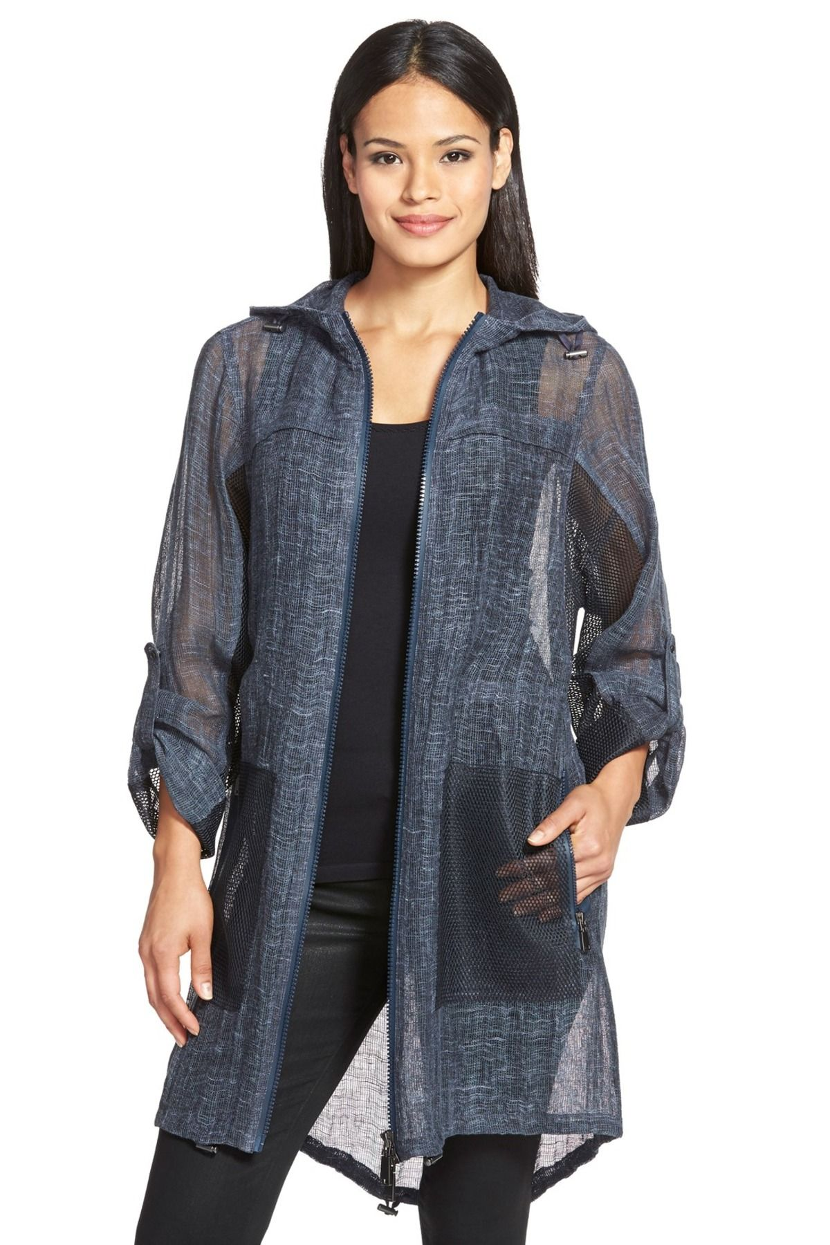 'Molly' Sheer Linen Hooded Coat by Elie Tahari on @nordstrom_rack